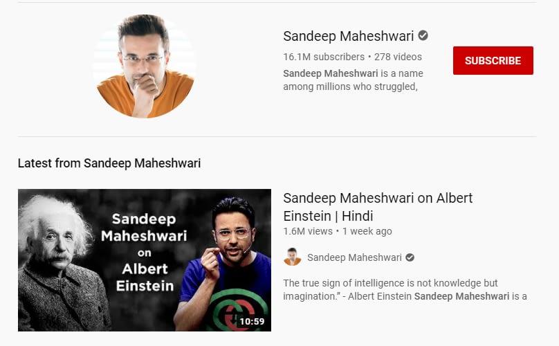 Sandeep Maheshwari youtube channel