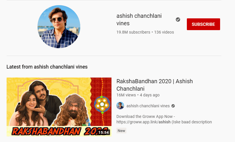 ashish chanchlani youtube channel